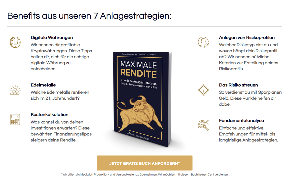 Maximale Rendite – 7 Top Finanzanlage Strategien (gratis Buch)