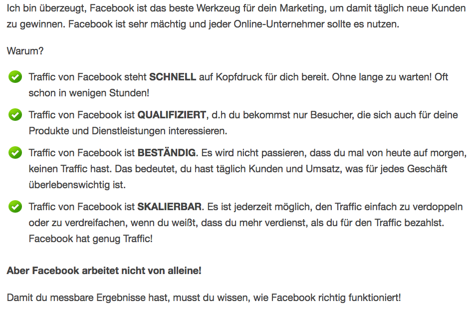 Facebook AD Traffic Erfahrung